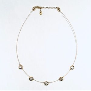Swarovski Gold Bezel-Set Crystals Wire Necklace